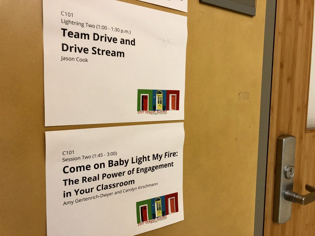 Room signs at 2017 summit